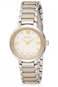 Ecstacy Women's Stainless Steel Band Watch E8503-TBTS, two tone gold, silver, silver