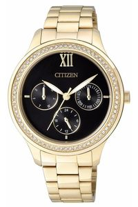 Women's Stainless Steel Band Watch - ED8152, black, gold, gold