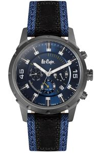 Men's Leather Band Watch - LC06310, blue/black, grey, blue