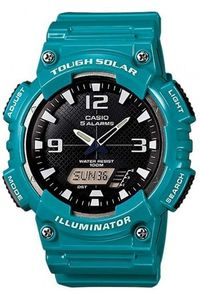 Men's Resin Band Watch - AQ-S810, black, turquoise, turquoise