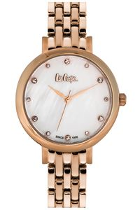 Women's Super Metal Band Watch - LC06475, two tone gold, two tone gold, mop white