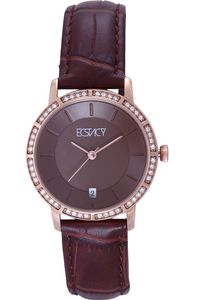Ecstacy Women's Leather Band Watch E7501-RLDD, brown, rose gold, brown