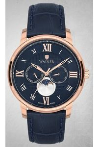 Men's Genuine Leather Band Watch -WA19654, blue, rose gold, blue