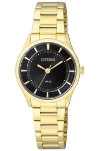 Women's Stainless Steel Band Watch - ER0203, black, gold, gold