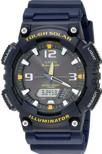 Men's Resin Band Watch - AQ-S810, black/yellow, blue, blue