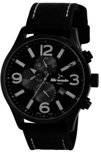 Men's Leather Band Watch- T5128, black, black, black