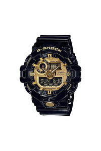 G-shock Men's Resin Band Watch GA-710GB-1A, gold, black, black
