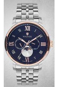 Men's Stainless Steel Band Watch -WA19666, silver, silver/rose gold, black