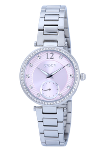 Ecstacy Women's Stainless Steel Band Watch E7522-SBSP, silver, silver, pink