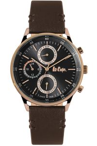Men's Leather Band Watch - LC06480, grey, rose gold, black