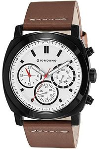 Giordano Men's Watch Multi Function Display– 1751-01, brown, brown, silver white