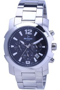 Men's Solid Stainless Steel Band Watch- T7101, silver, black, silver