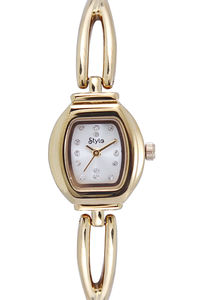 Women's Stainless Steel Band Watch-S7515, silver, gold, gold