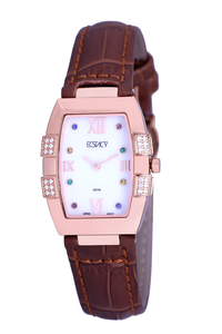 Ecstacy Women's Leather Band Watch E7505-RLDM, brown, rose gold, mop white