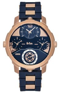 Men's Resin Band Watch - LC06223, blue, rose gold, blue