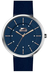 Women's Leather Band Watch - SL. 9.6046, blue, silver, blue