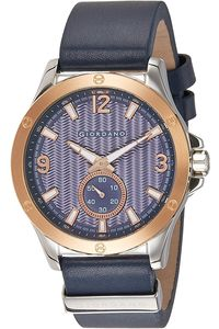 Men's Genuine Leather Strap Band Watch - 1765, blue, blue, tt rose gold