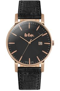 Men's Leather Band Watch -LC06427, black, rose gold, black