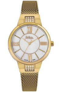 Women's Super Metal Band Watch -LC06646, mop white, gold, gold