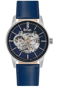 Men's Leather Band Watch -LC06421, blue, silver, blue