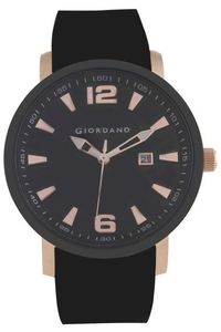 Men's Resin Band Watch - 1875, black, rose gold, black