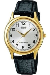 Men's Leather Band Watch - MTP-1093, silver, gold, black
