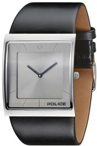 Men's Leather Band Watch - P 13678, silver, black, grey