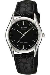 Men's Leather Band Watch - MTP-1094, black, silver, black