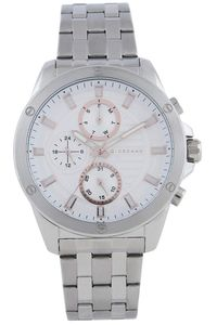 Men's Stainless Steel Band Watch - 1885, silver, white, silver