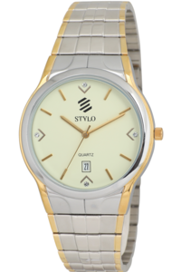 Men's Stainless Steel Band Watch -S7017, ip silver/ ip gold, ivory, ip silver/ ip gold