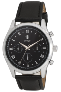 Men's Leather Band Watch -S7053, black, black, ip silver