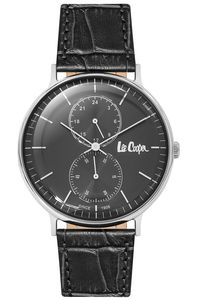 Men's Leather Band Watch - LC06381, blue, rose gold, blue