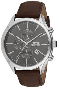 Men's Leather Band Watch - SL. 9.6064, grey, silver, brown