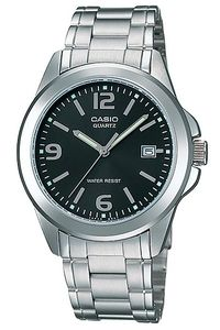 Men's Stainless Steel Band Watch - MTP-1215, black/grey, silver, silver