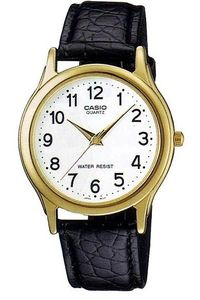 Men's Leather Band Watch - MTP-1093, white, gold, black