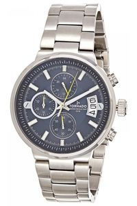Men's Solid Stainless Steel Band Watch- T8108, silver, blue, silver