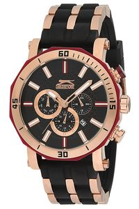 Men's Resin Band Watch - SL. 9.6016, black, rose gold, tt black