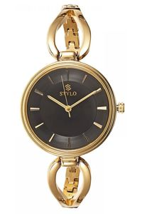 Stylo Women's Stainless Steel Band Watch - S7543-GBGB, black, ip gold, ip gold