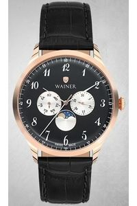 Men's Genuine Leather Band Watch -WA19051, black, rose gold, black