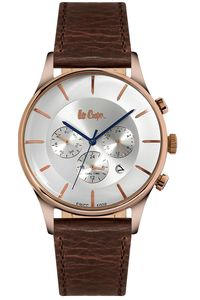Men's Leather Band Watch -LC06491, silver, rose gold, brown