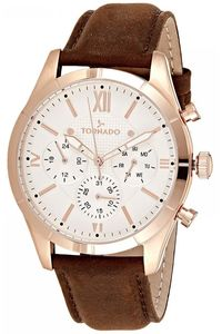 Men's Genuine Leather Band Watch- T8105, rose gold, silver, brown