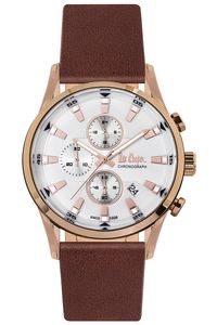 Men's Leather Band Watch -LC06657, brown, rose gold, silver