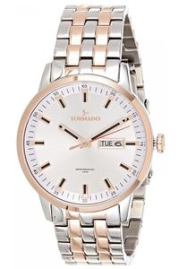 Men's Solid Stainless Steel Band Watch- T8006, two tone rose gold, silver, silver