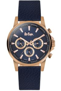 Men's Leather Band Watch -LC06528, blue, rose gold, blue