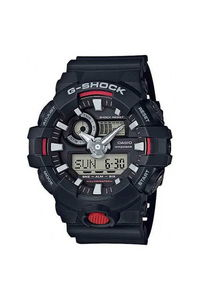 G-shock Men's Resin Band Watch GA-700-1A, black/red, black, black