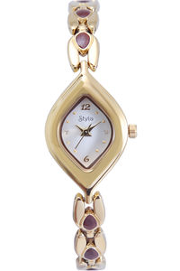 Women's Stainless Steel Band Watch-S7512, silver, gold, gold