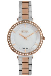 Women's Super Metal Band Watch - LC06560, two tone rose gold, rose gold, mop white