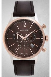 Men's Genuine Leather Band Watch -WA12428, brown, silver, brown