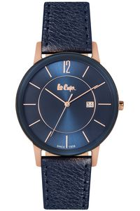 Men's Leather Band Watch - LC06326, blue, rose gold, blue