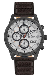 Men's Leather Band Watch -LC06592, black, brown, silver